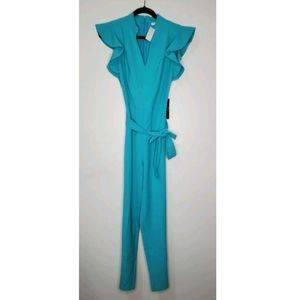 NEW New York & Co Size S Teal Blue Jumpsuit Ruffle